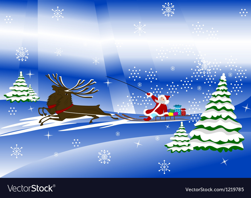 Santa claus with christmas deer and presents vector | Price: 1 Credit (USD $1)