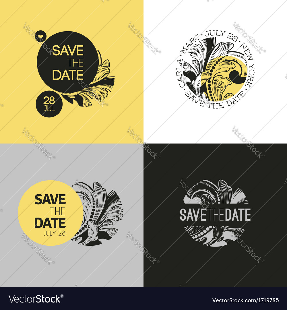Save the date wedding graphic set in baroque style vector | Price: 1 Credit (USD $1)
