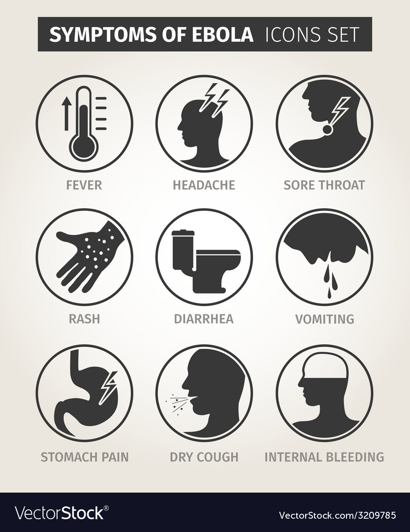 Set of icons symptoms ebola virus vector | Price: 1 Credit (USD $1)