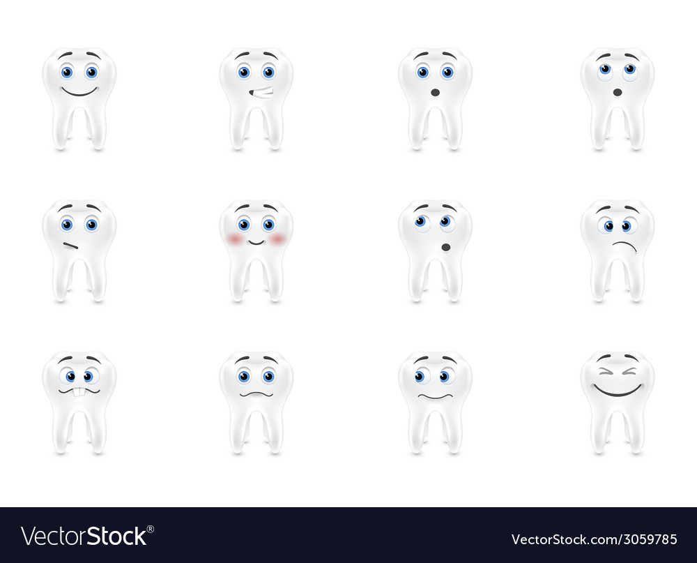 Set smiles sensitive teeth vector | Price: 1 Credit (USD $1)