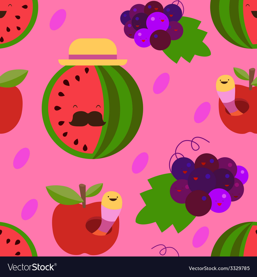 Water-melon and grapes seamless pattern vector | Price: 1 Credit (USD $1)