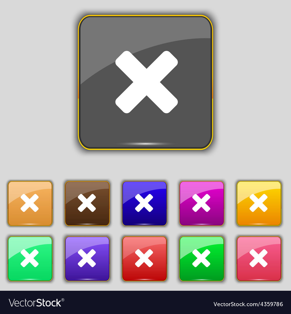 Cancel multiplication icon sign set with eleven vector | Price: 1 Credit (USD $1)