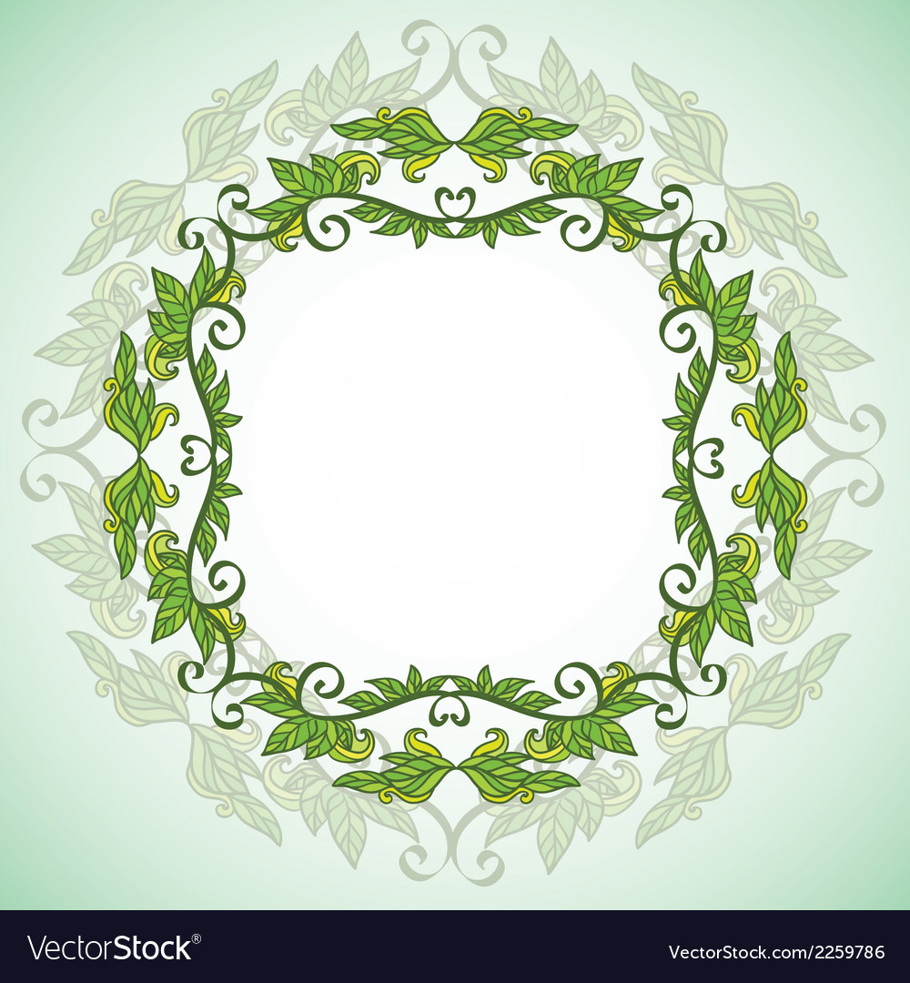 Circle eco frame with leafes vector | Price: 1 Credit (USD $1)