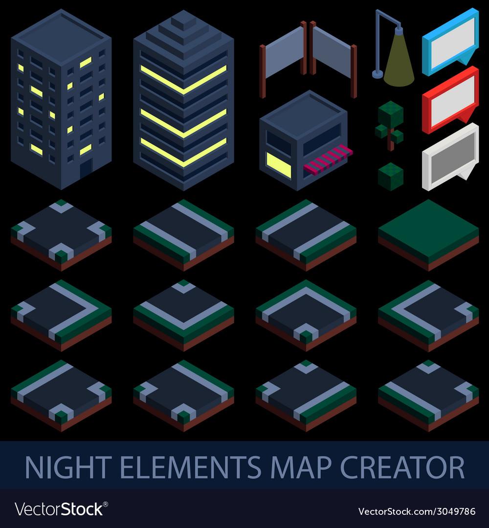 Isometric night elements map creator vector | Price: 1 Credit (USD $1)