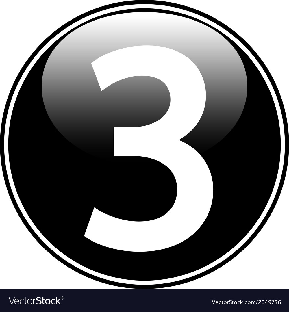Number three button vector | Price: 1 Credit (USD $1)