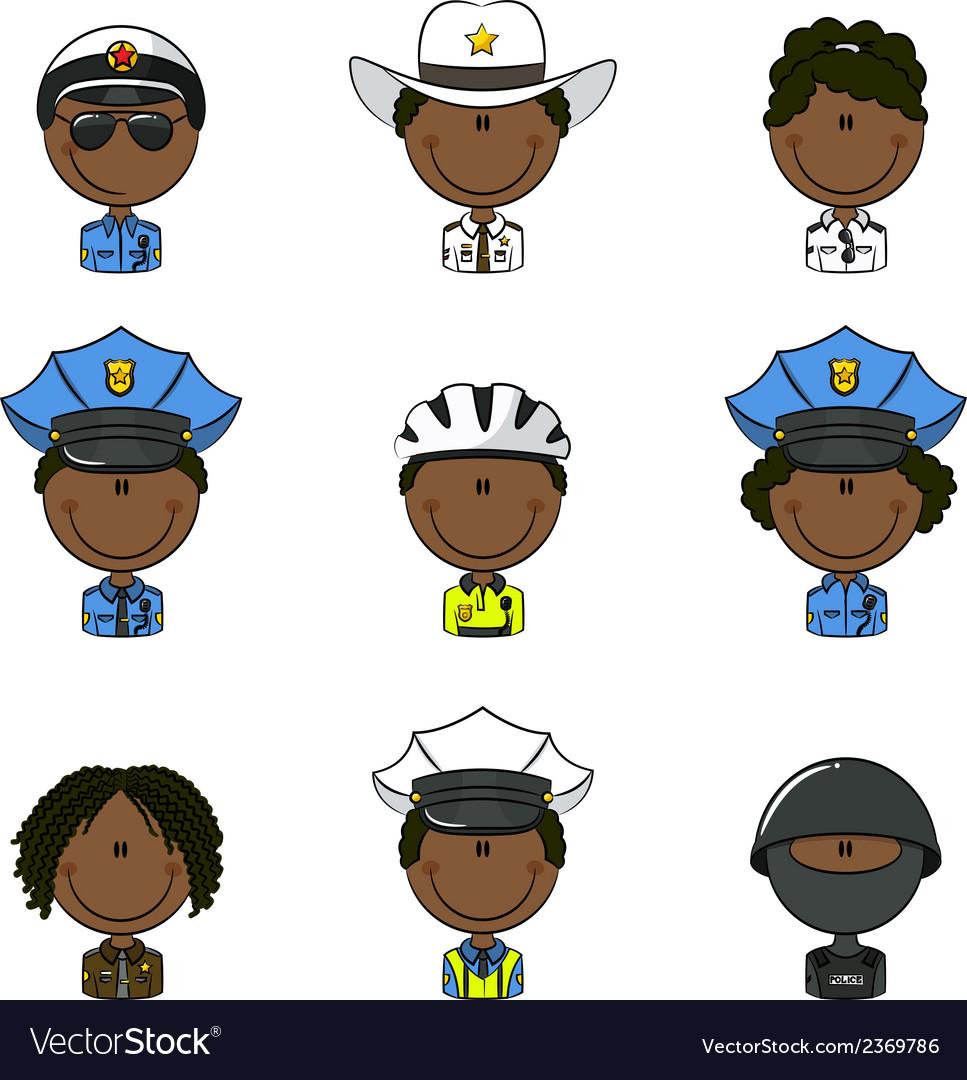 Police avatars vector | Price: 1 Credit (USD $1)