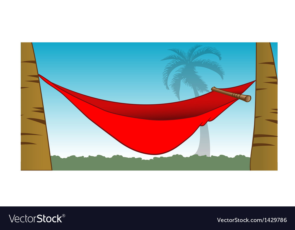 Red hammock between palm trees vector | Price: 1 Credit (USD $1)