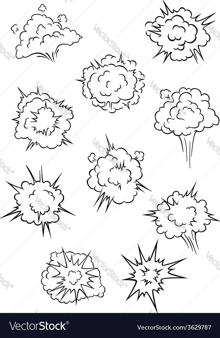 Assorted cartoon explosion effects and clouds vector | Price: 1 Credit (USD $1)