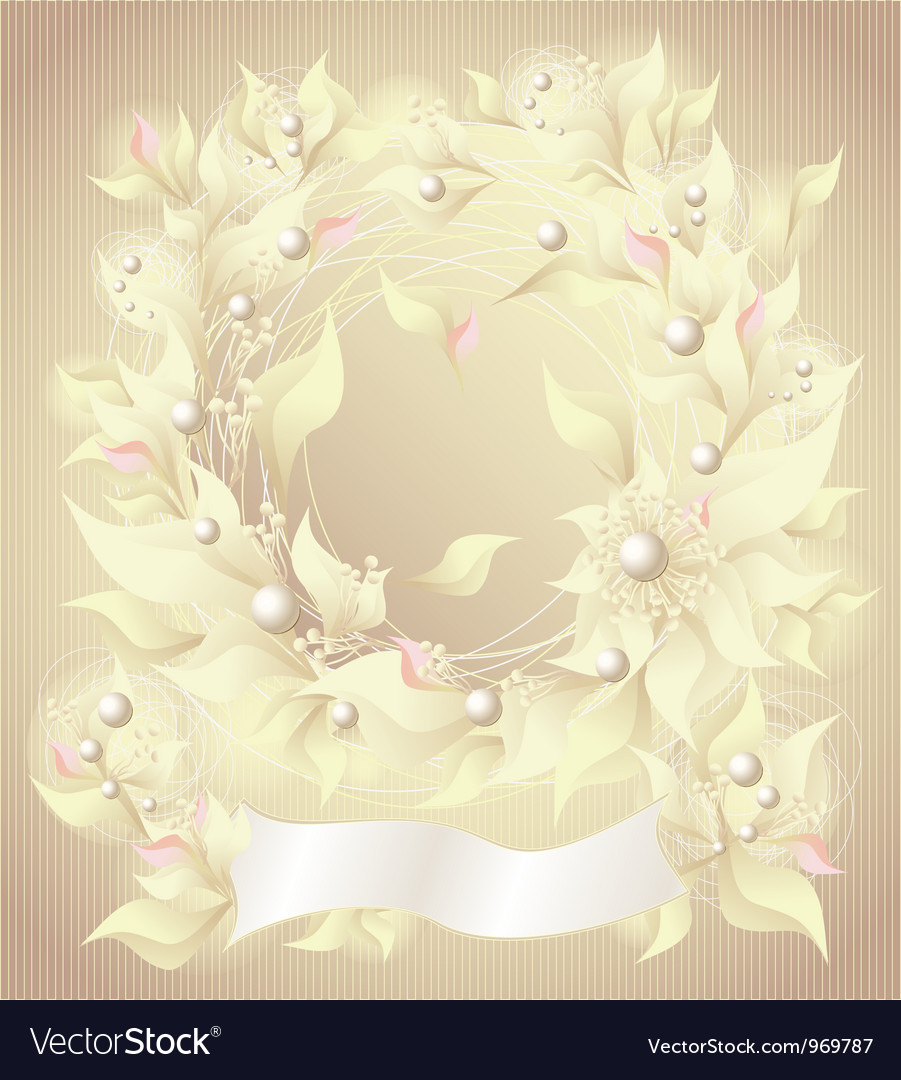 Background with flowers pearls petals and ribbon vector | Price: 1 Credit (USD $1)