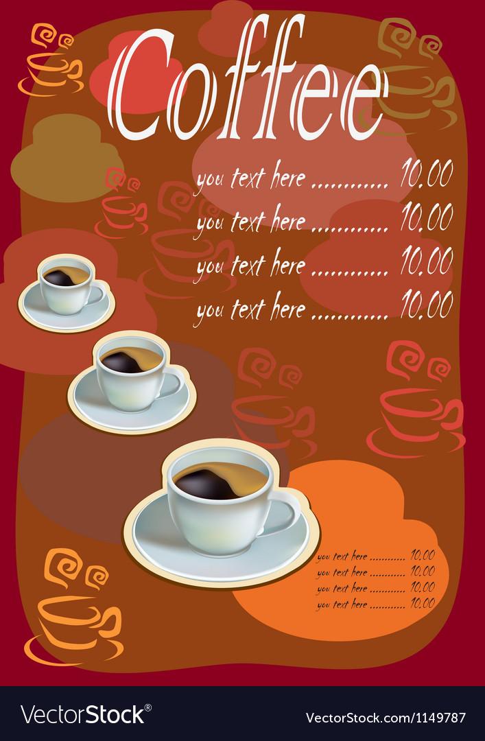 Coffee tea menu vector | Price: 1 Credit (USD $1)
