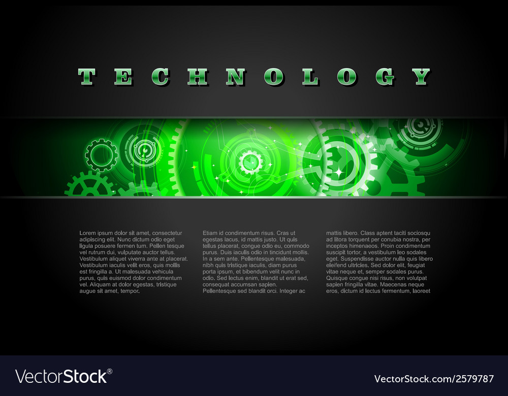Metal technology panel with green glowing gears vector | Price: 1 Credit (USD $1)