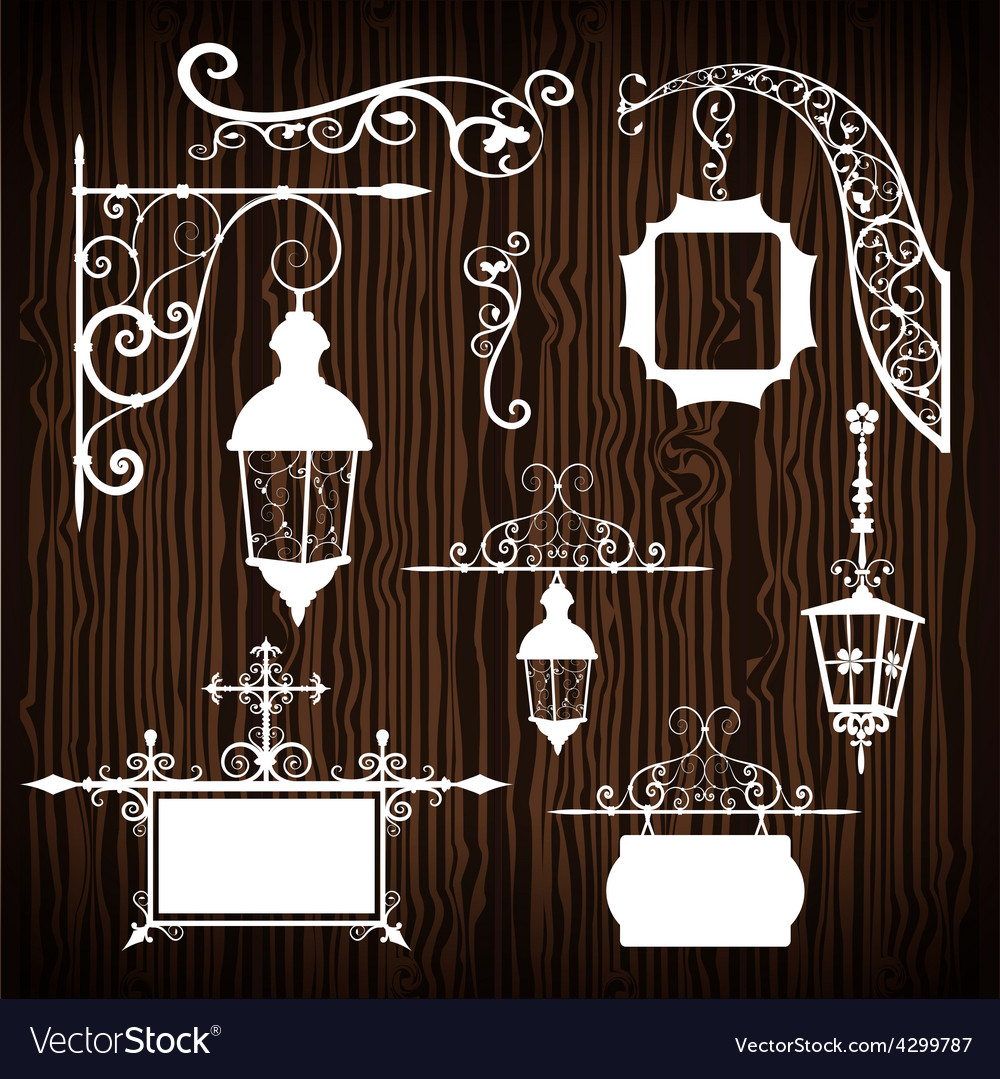 Retro street lanterns on wooden backdrop vector | Price: 1 Credit (USD $1)