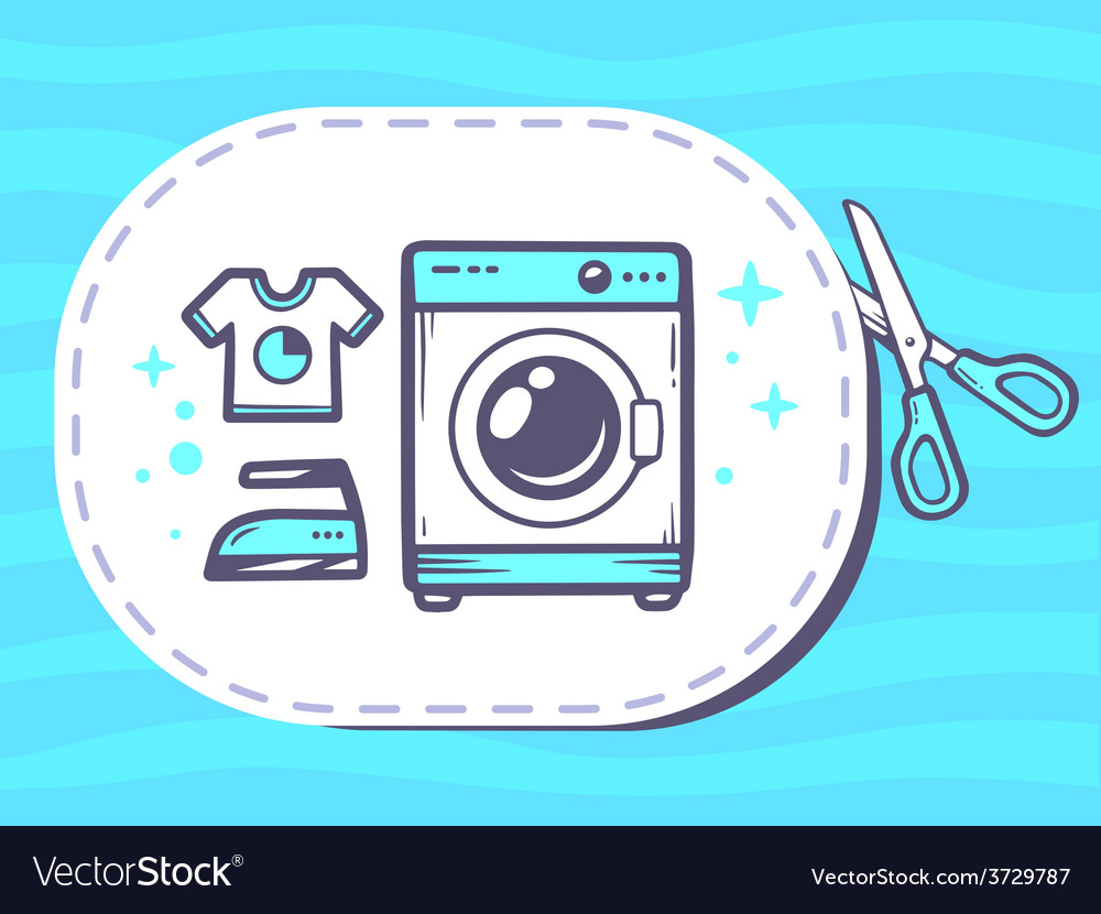 Scissors cutting sticker with icon of was vector   Price: 1 Credit (USD $1)