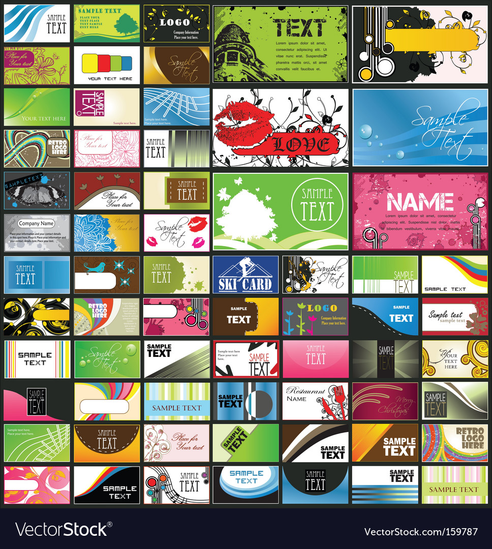 Set of 66 business cards vector | Price: 1 Credit (USD $1)