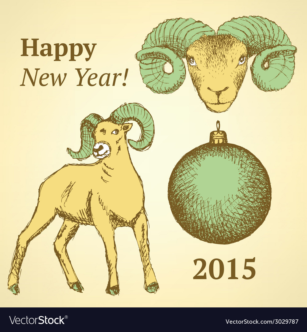 Sketch new year ram and ball in vintage style vector | Price: 1 Credit (USD $1)