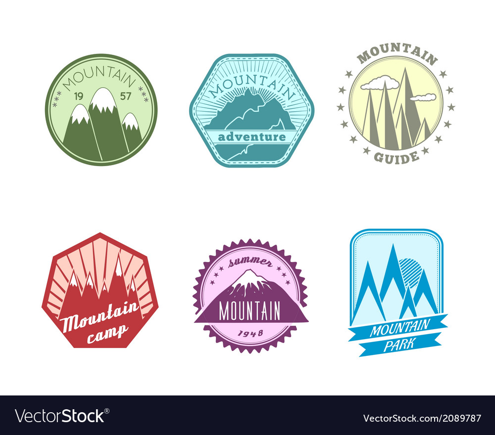 Snowy mountains labels collection vector | Price: 1 Credit (USD $1)