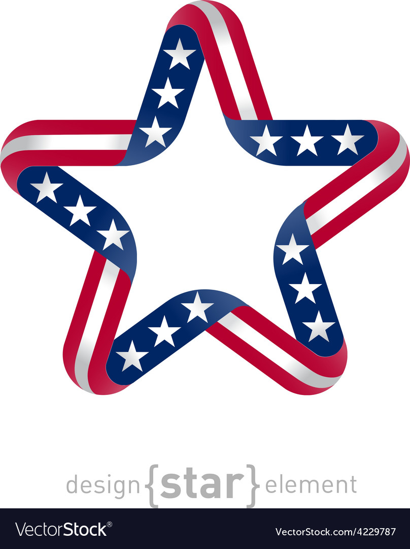 Star with american flag colors and symbols design vector | Price: 1 Credit (USD $1)