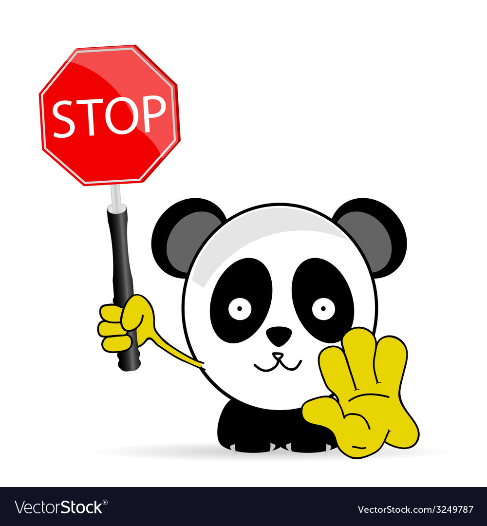 Sweet and funny panda with sign stop vector | Price: 1 Credit (USD $1)