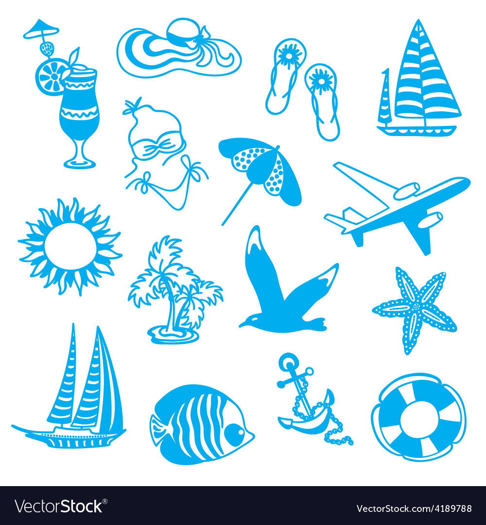 Blue icons symbolizing summer vacation vector | Price: 1 Credit (USD $1)