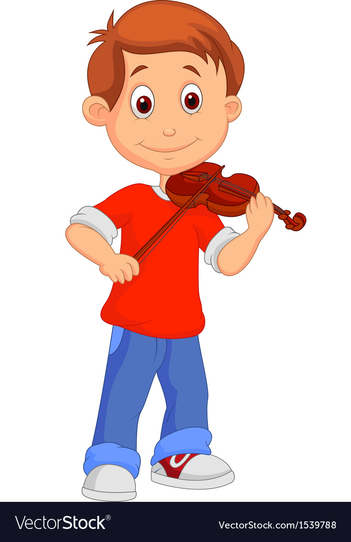 Boy cartoon playing his violin vector | Price: 1 Credit (USD $1)