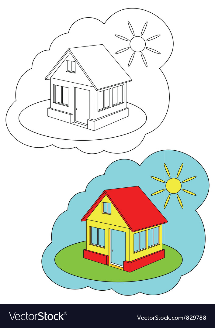 Color-in home vector | Price: 1 Credit (USD $1)