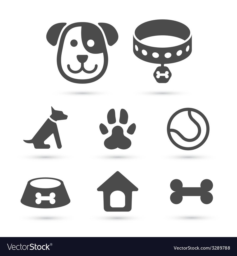 Cute dog icon symbol set on white vector | Price: 1 Credit (USD $1)