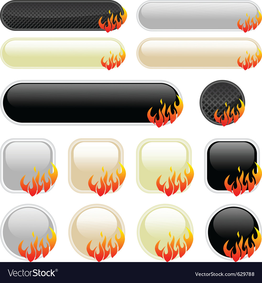 Flame banner elements vector | Price: 1 Credit (USD $1)