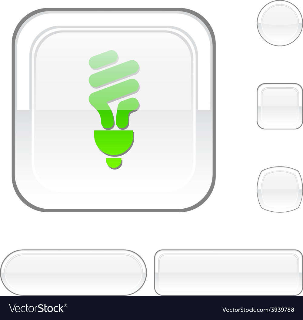 Fluorescent bulb white button vector | Price: 1 Credit (USD $1)