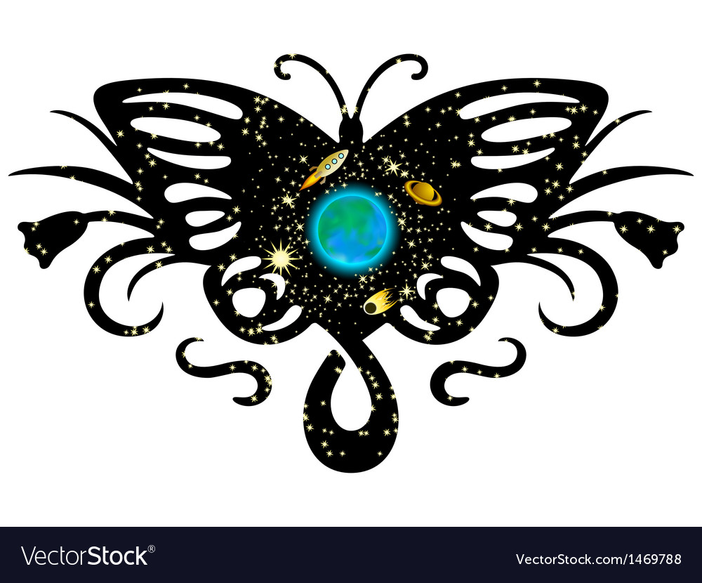 Gallaxy on butterfly vector | Price: 1 Credit (USD $1)