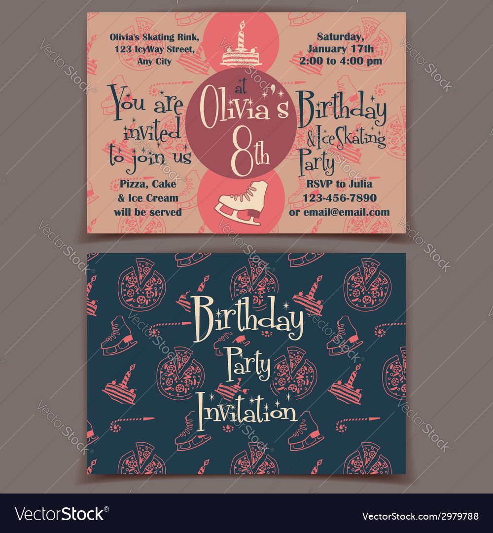 Ice skating birthday party invitation cards vector | Price: 1 Credit (USD $1)
