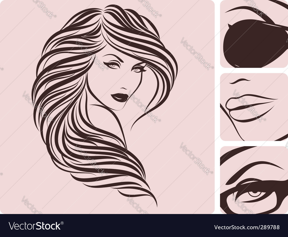 Long curly hairstyle vector | Price: 1 Credit (USD $1)