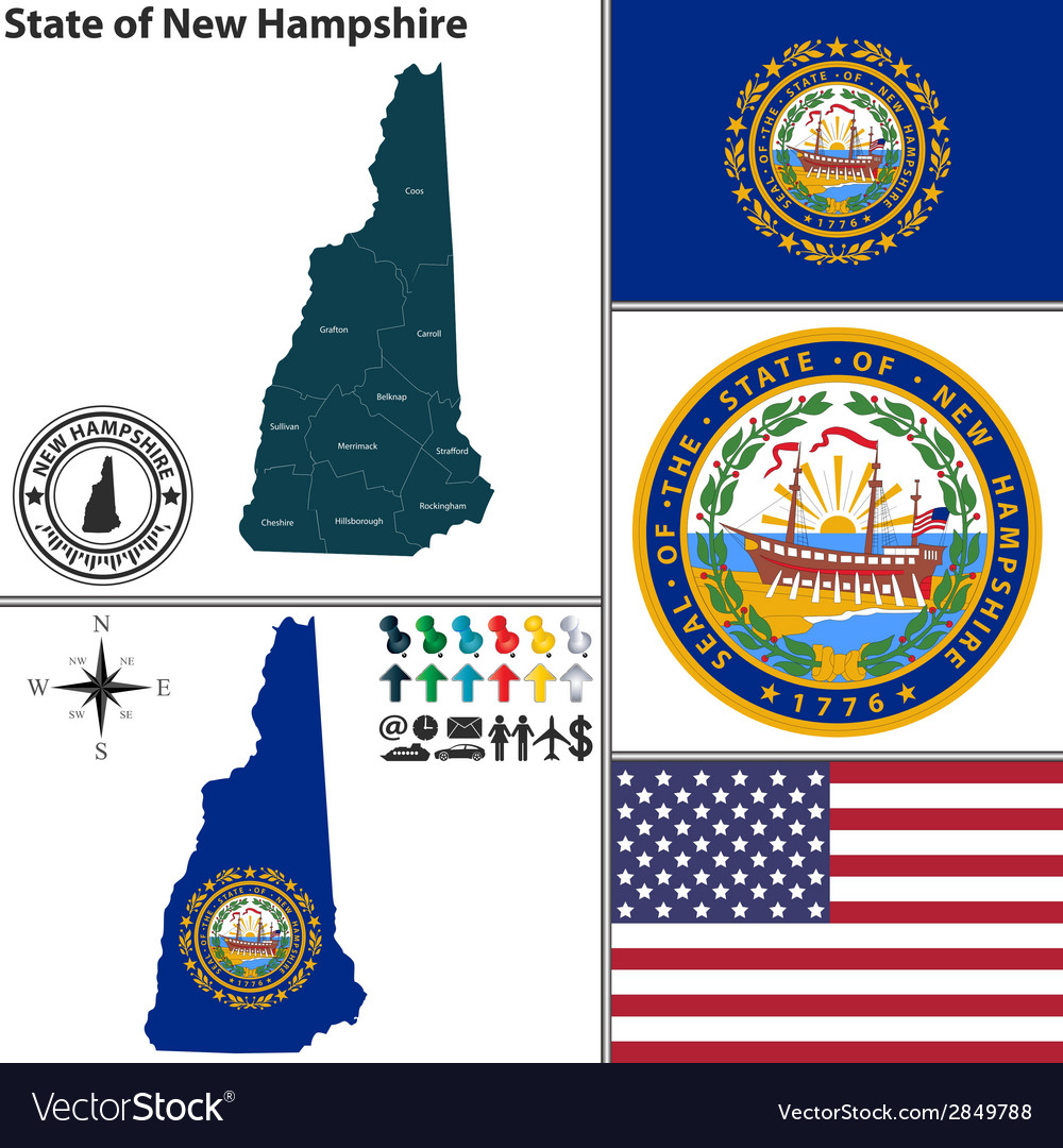 Map of new hampshire with seal vector | Price: 1 Credit (USD $1)