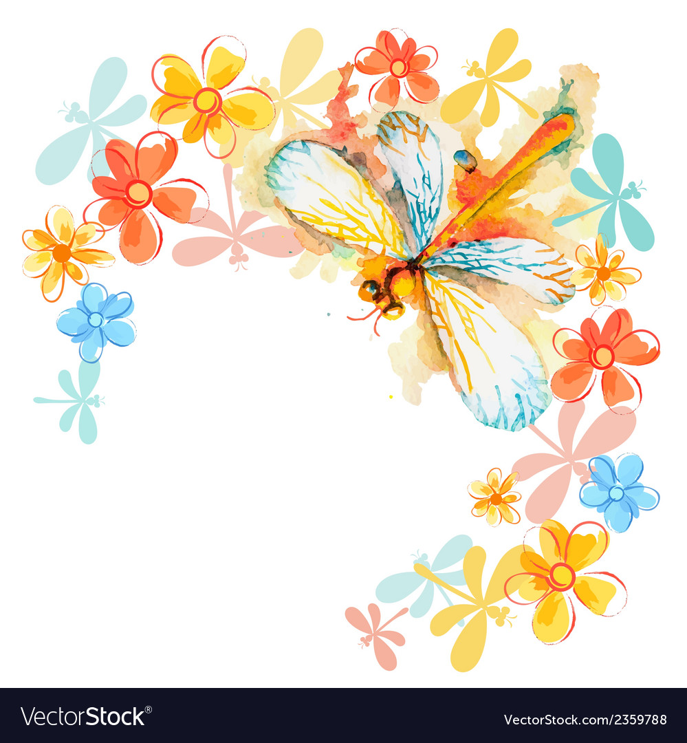 Orange dragonflies with flowers vector | Price: 1 Credit (USD $1)