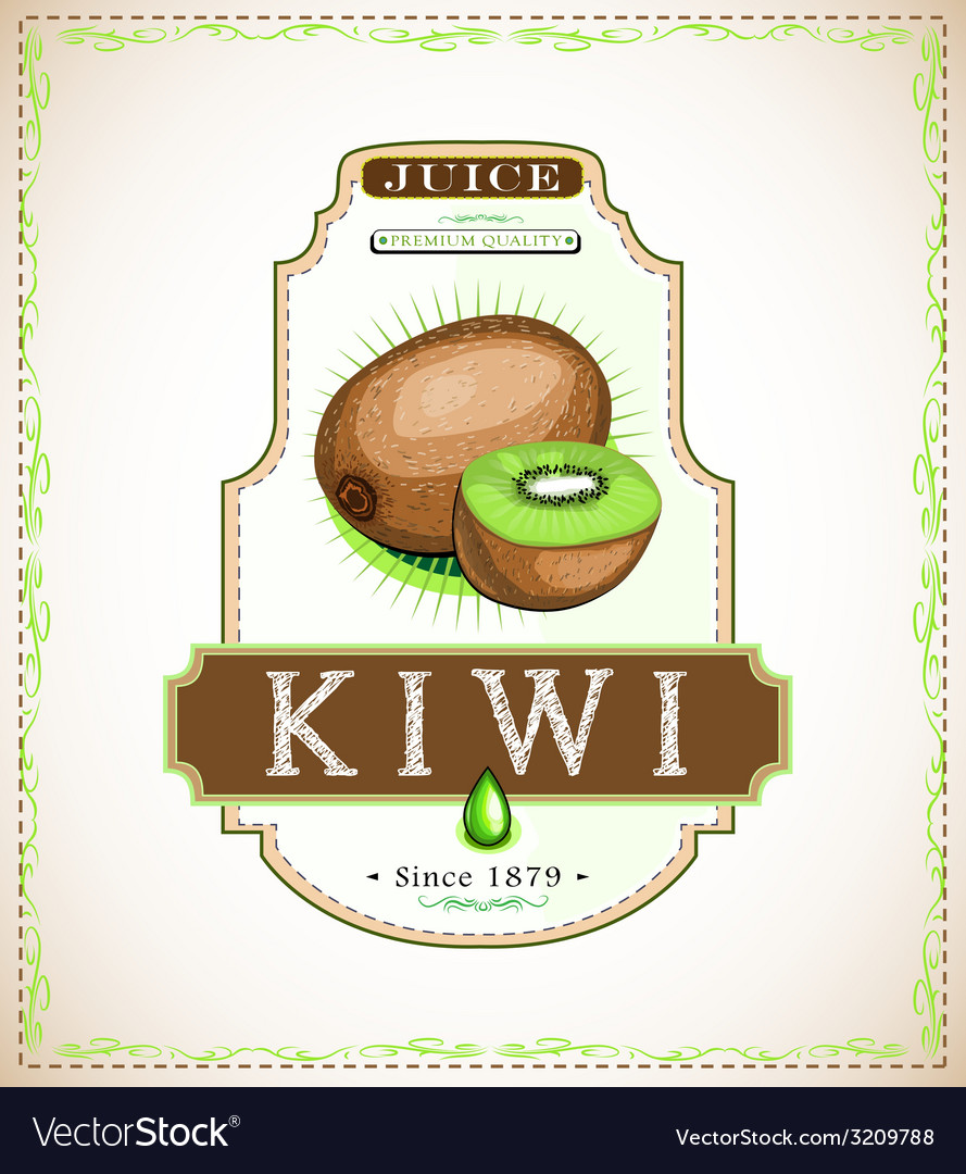 Ripe kiwi fruit on a juice or fruit product label vector | Price: 1 Credit (USD $1)