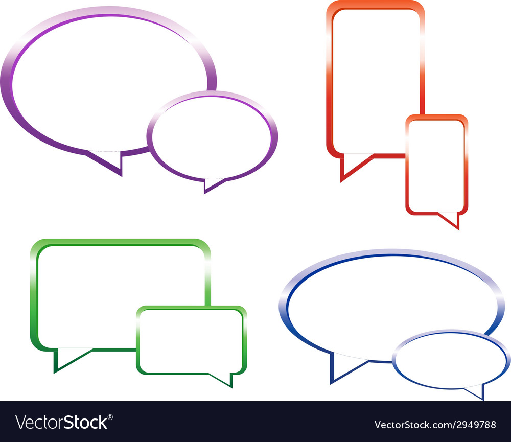 Set of glossy speech bubbles vector | Price: 1 Credit (USD $1)