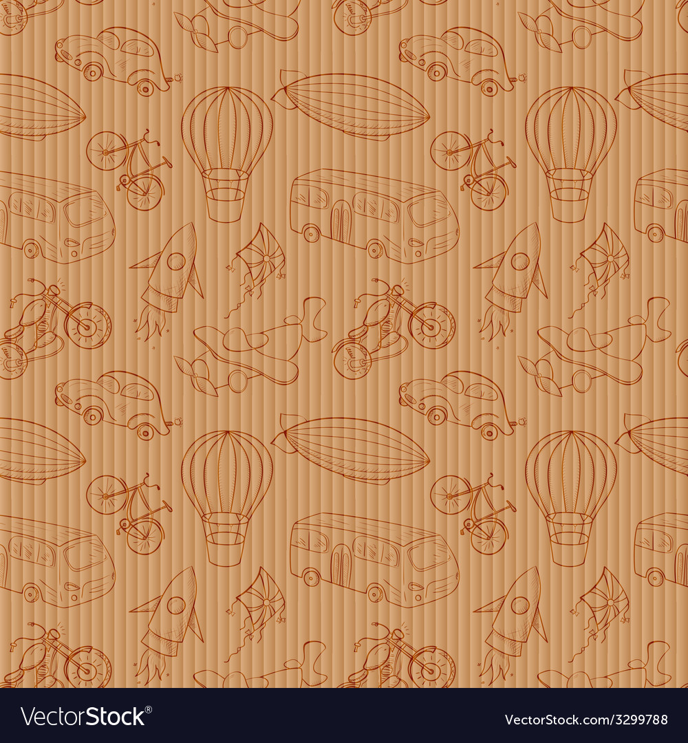 Sketches means of transport vintage seamless vector   Price: 1 Credit (USD $1)