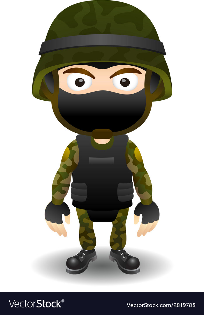 Soldier character in mask vector | Price: 1 Credit (USD $1)
