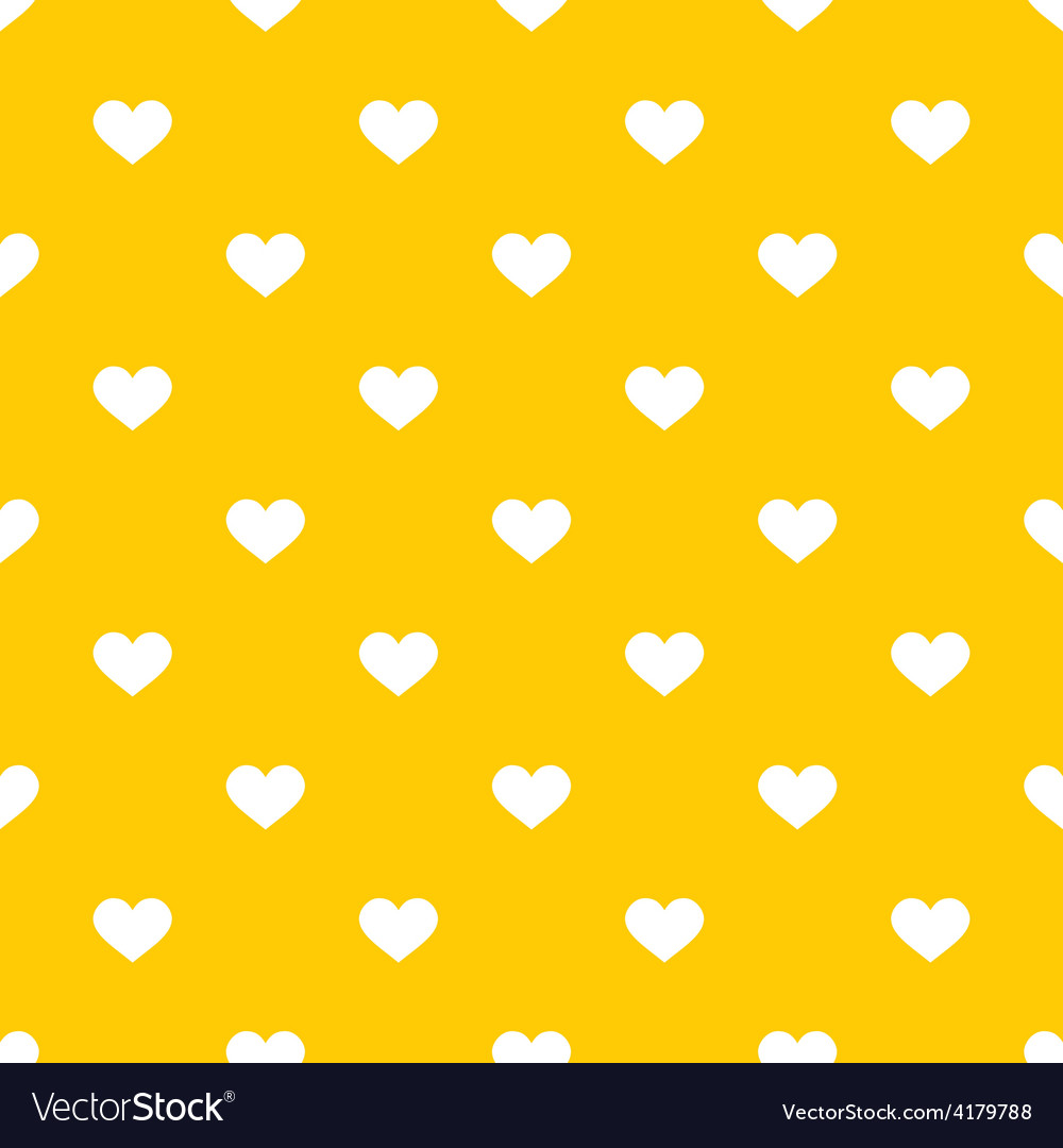 Tile cute pattern with white hearts on yellow vector | Price: 1 Credit (USD $1)