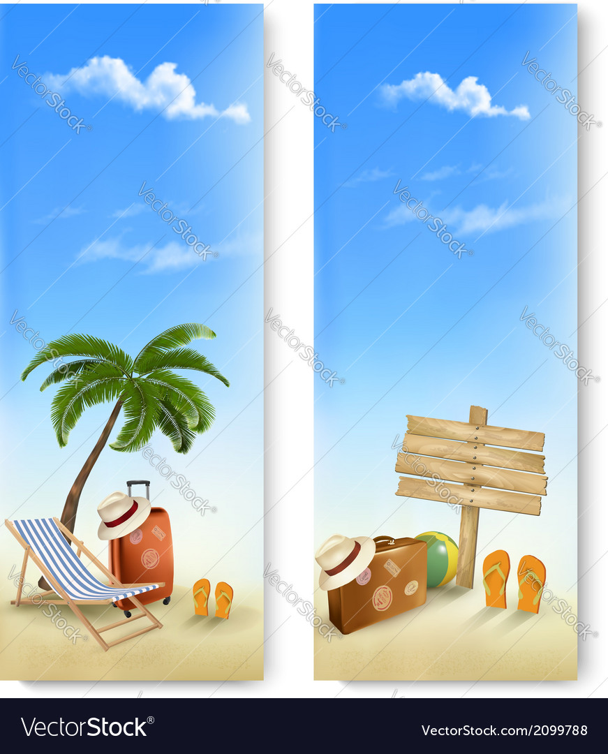 Two summer travel banners vector | Price: 1 Credit (USD $1)