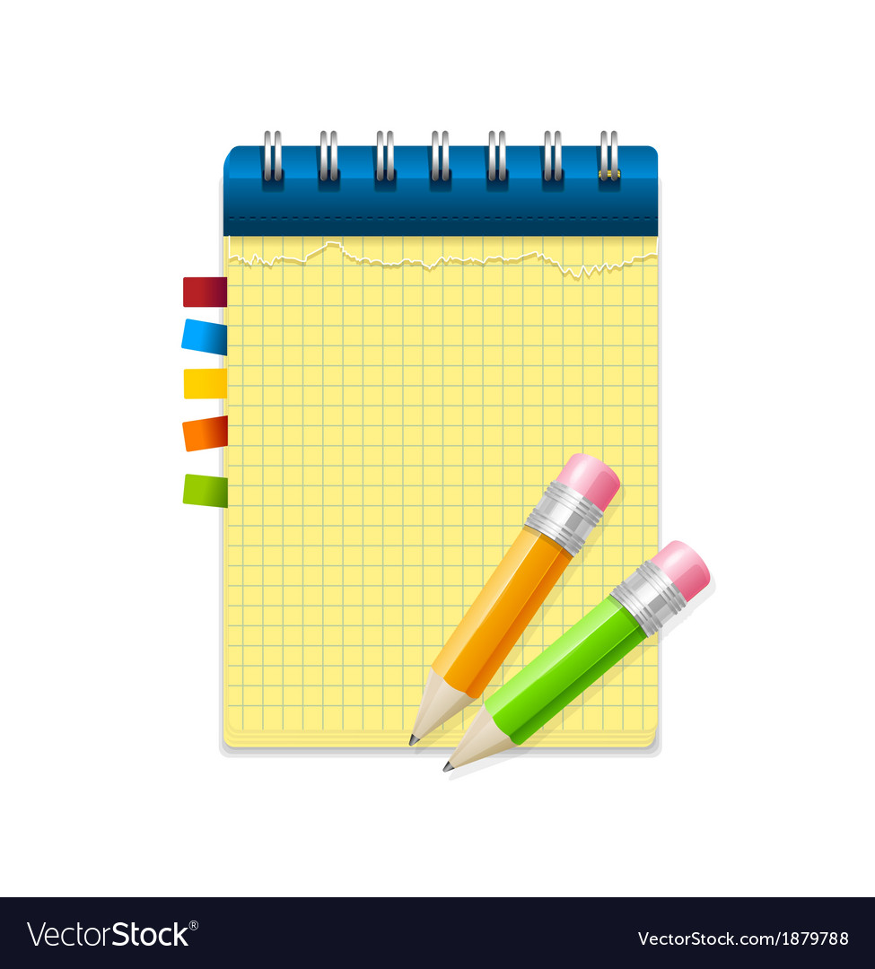 Yellow note paper and pencils vector | Price: 1 Credit (USD $1)