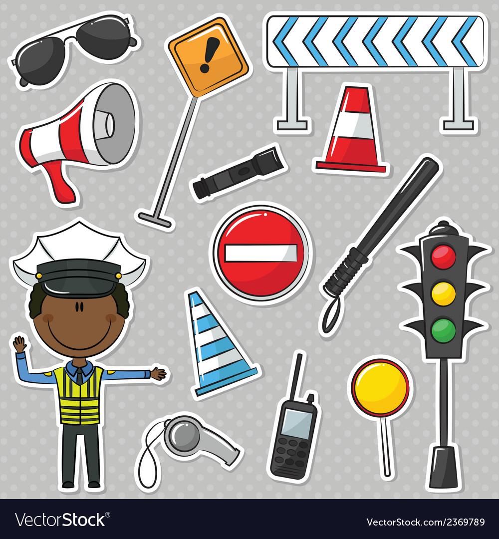 African-american traffic policeman vector | Price: 1 Credit (USD $1)