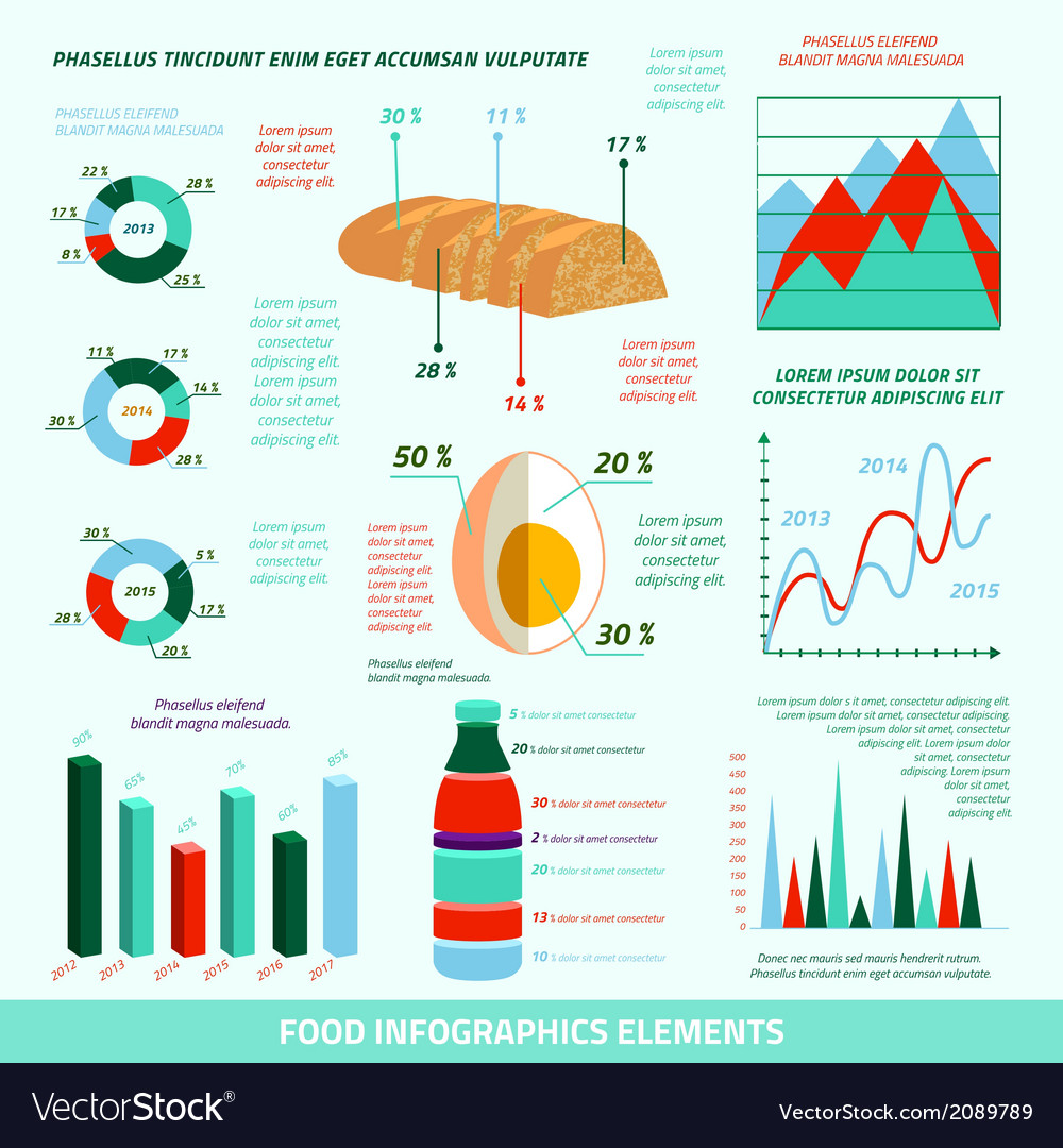 Food infographic elements vector | Price: 1 Credit (USD $1)