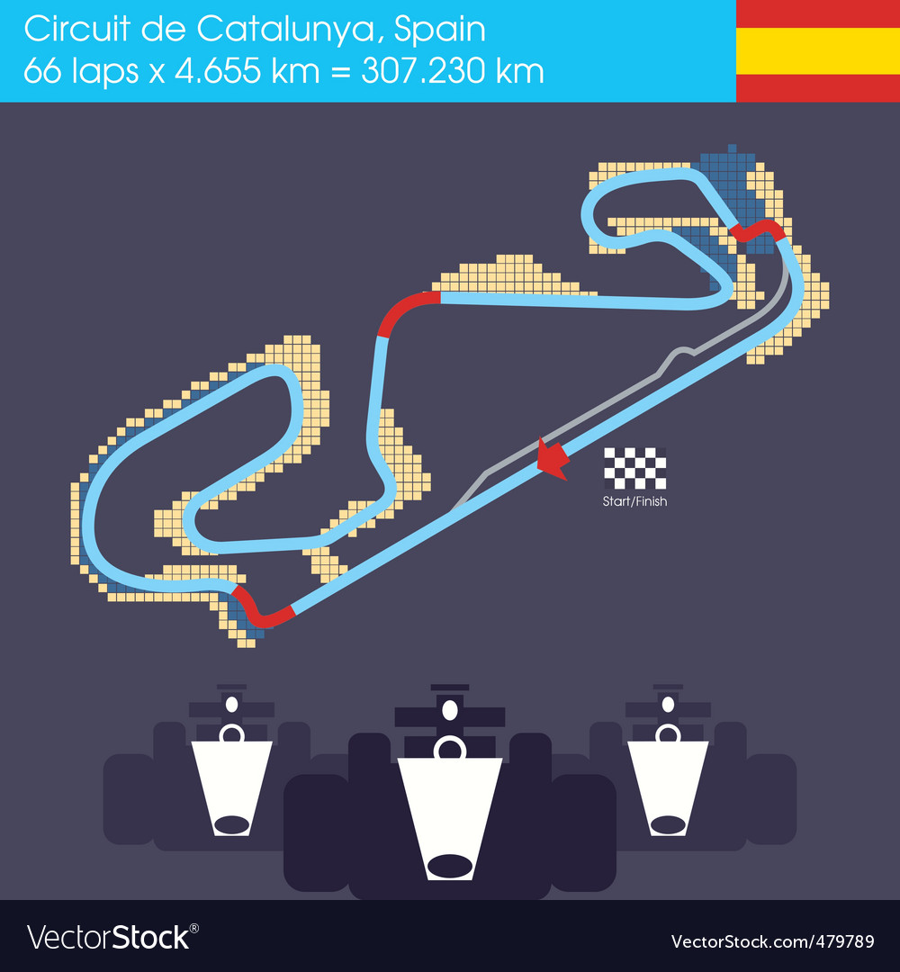 Formula 1 spain circuit vector | Price: 1 Credit (USD $1)
