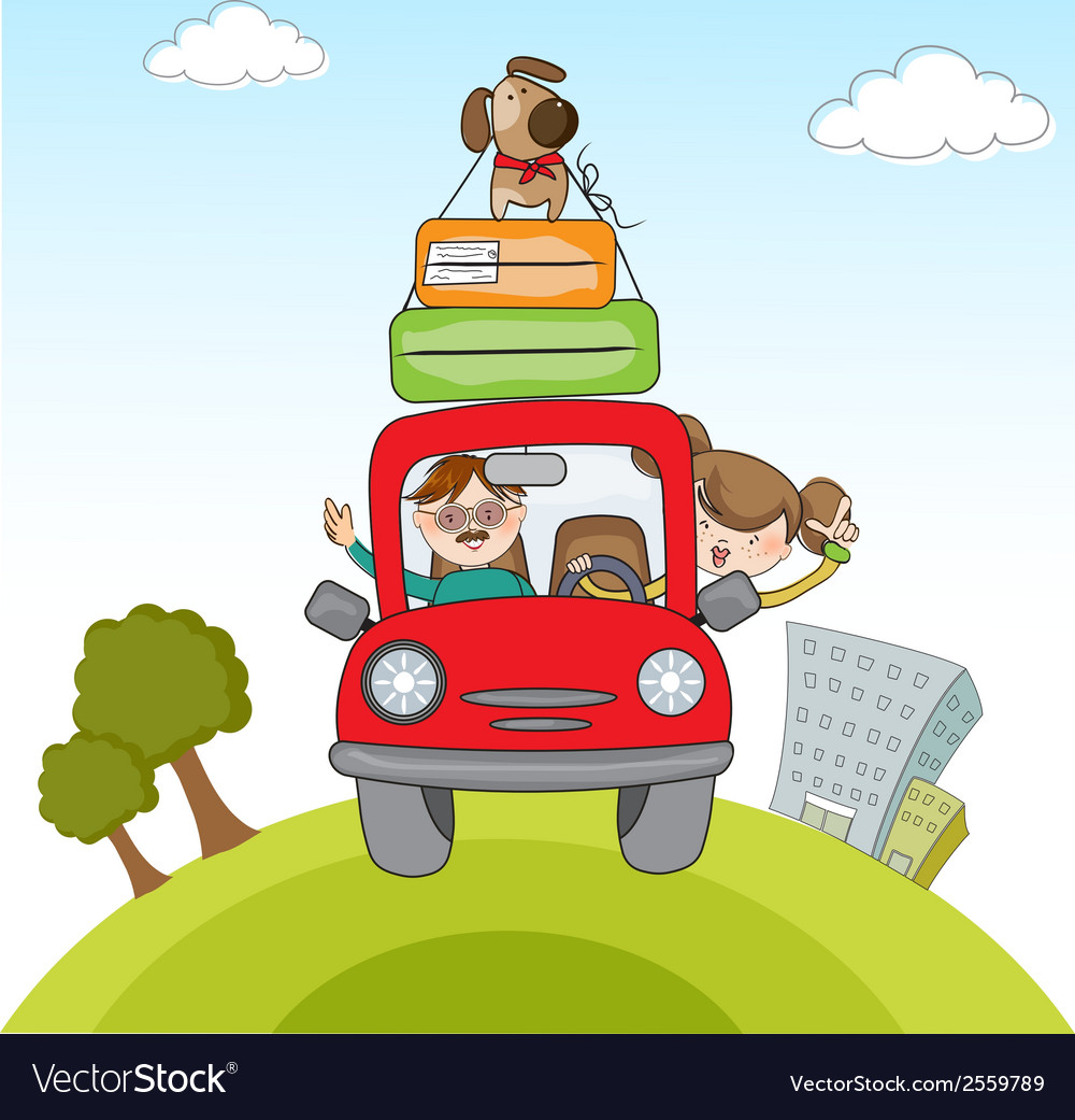 Man and woman traveling by the car vector | Price: 1 Credit (USD $1)