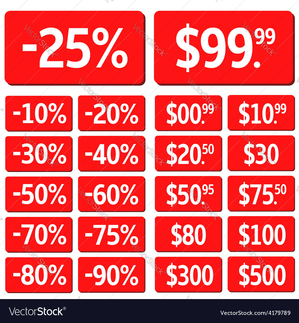 Red price set vector | Price: 1 Credit (USD $1)