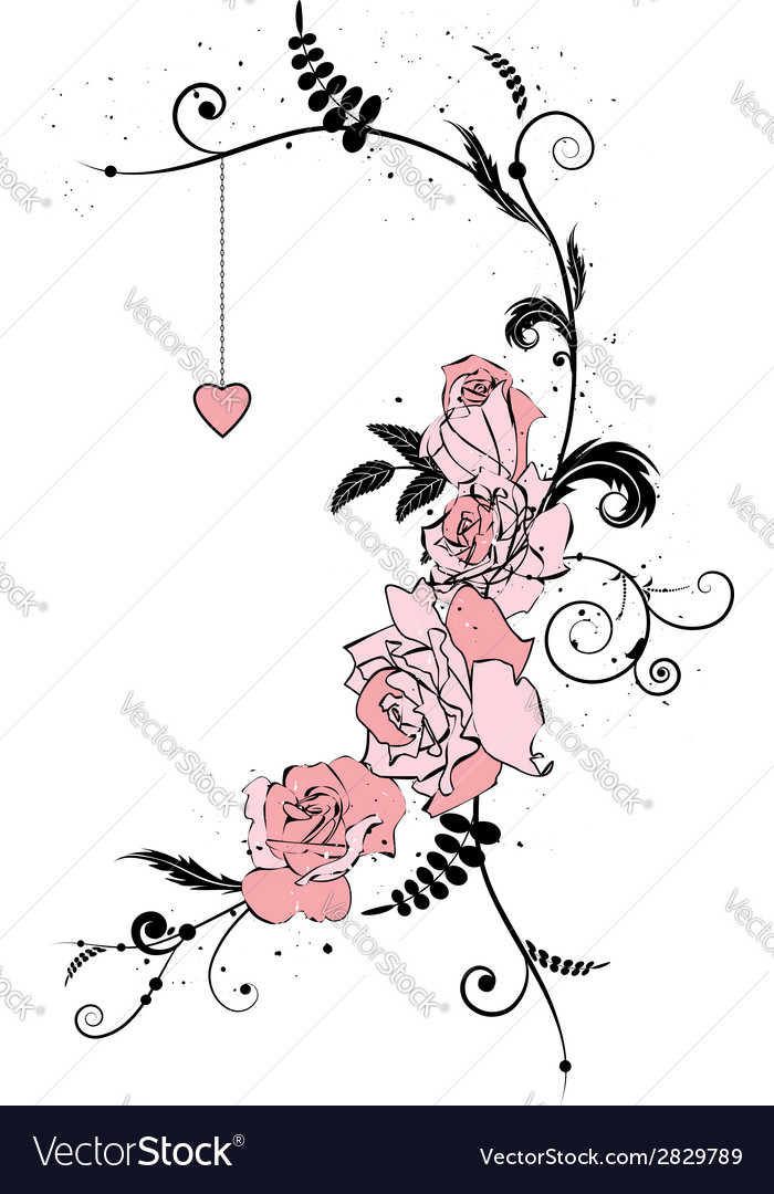 Roses and heart vector | Price: 1 Credit (USD $1)