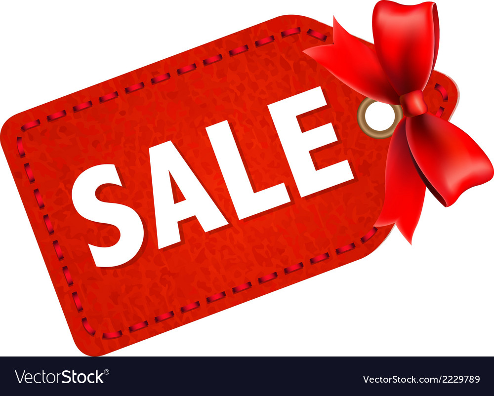 Sale tag with red ribbon vector | Price: 1 Credit (USD $1)