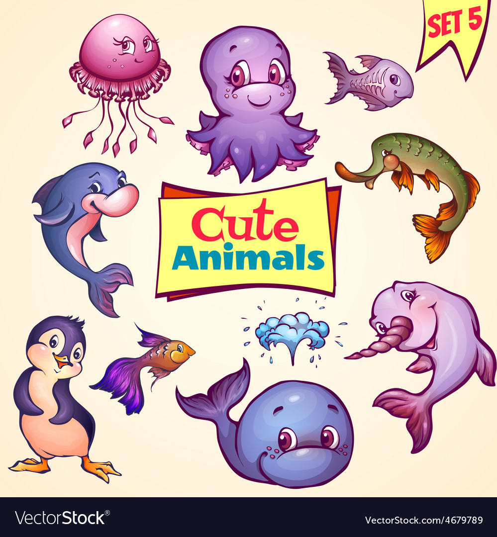 Set of cute sea animals dolphin pike vector | Price: 5 Credit (USD $5)