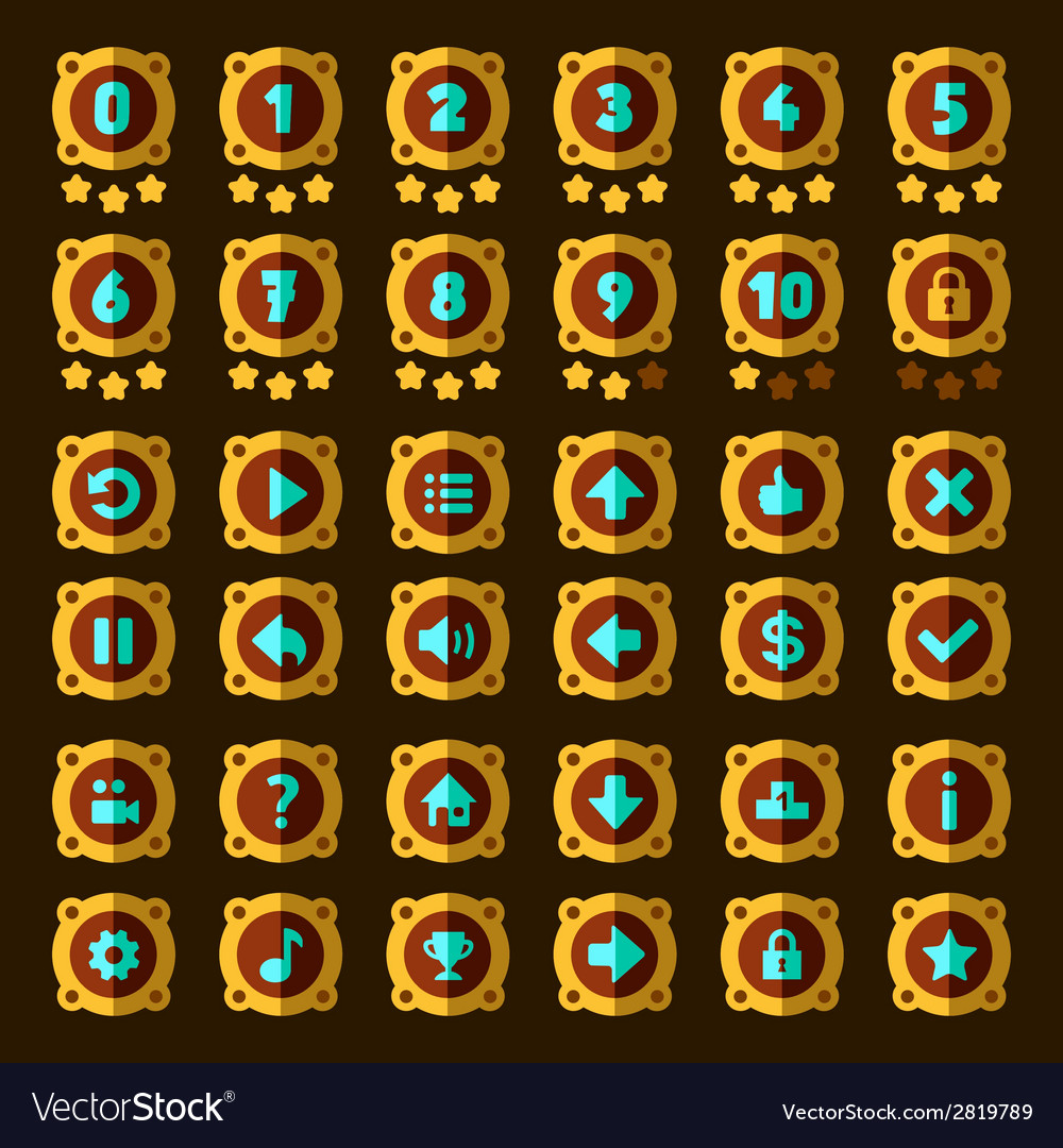 Steam punk flat game buttons set vector | Price: 1 Credit (USD $1)