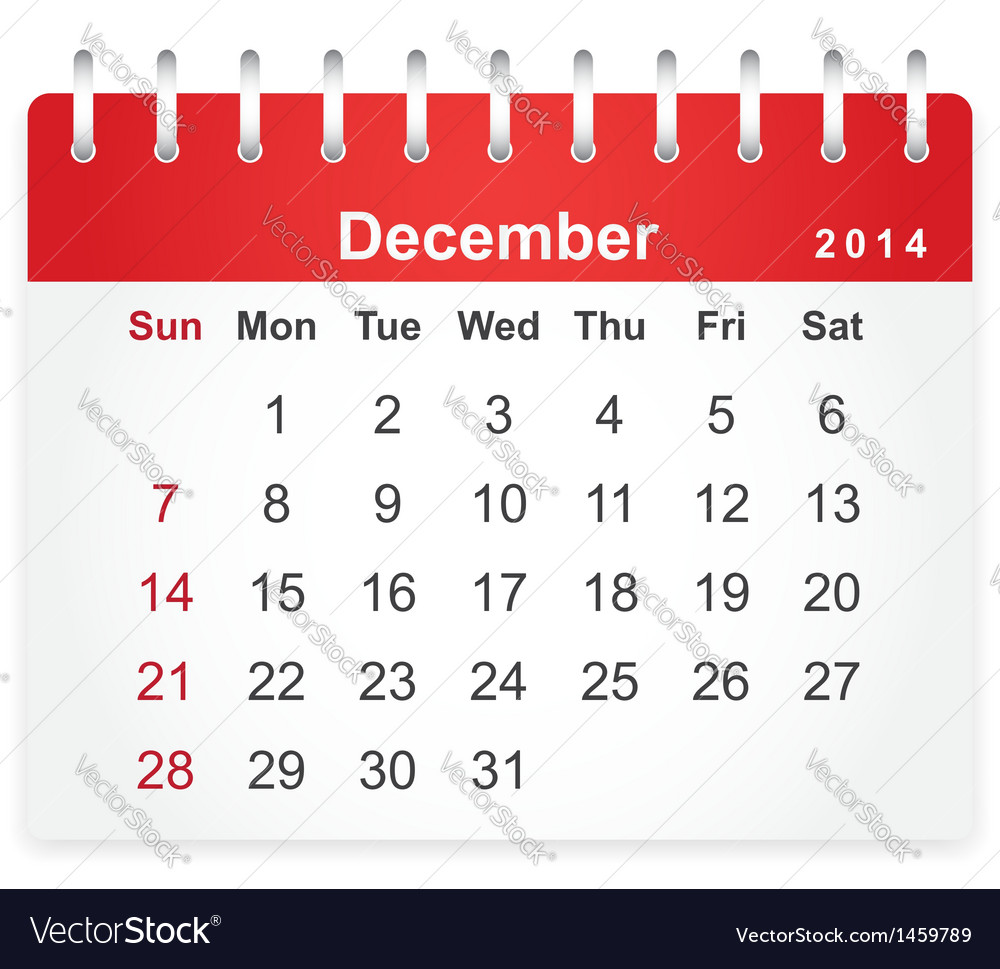 Stylish calendar page for december 2014 vector | Price: 1 Credit (USD $1)